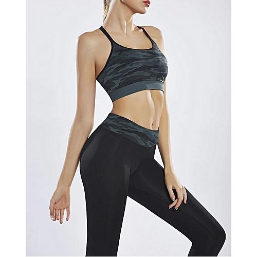 ac2969cbc4dcc Generic Women Yoga Bras   Pants Two-Piece Camouflage Print Skinny Workout  Suit Set Clothes Gym Leggings Sports
