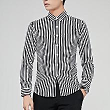 Stripe Long Sleeve Shirts For Men Formal Shirts (Black)
