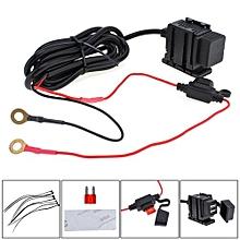 Dual USB 12V Waterproof Motorcycle Handlebar Power Charger Supply Port Socket For Phone / GPS / MP4