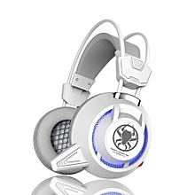 DJ  Headset with  HD Microphone and  2.2 m Cable(white with led  light)