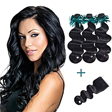 Brazilian Body Wave Virgin Hair 3 Bundles With Free Part Lace Closure ( 28 28 28 + 14 in Closure )