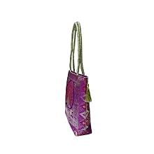 Silk Gold Kissed Benarasi Handbag - Purple
