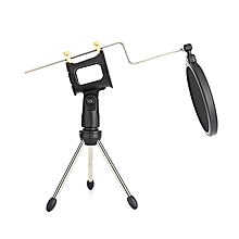 Microphone Tripod Stand Foldable Desktop Mic Bracket With Clip And Pop Filter Black