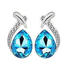 bluerdream-Women Crystal Pendant Silver Plated Chain Necklace Stud Earring Jewelry Set -Light Blue
