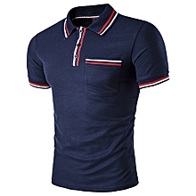 Men's Fashion Striped Lapel Golf Shirt Casual Short Sleeve Front Pocket Tops Tees