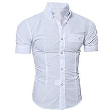 Men Fashion Luxury Business Stylish Slim Fit Short Sleeve Casual Shirt WH L- White   L