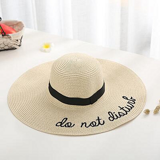 673c981cf64ab8 new letter embroidery cap Big brim Ladies summer straw hat youth hats for women  Shade sun