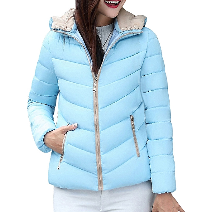 8647af8ca jiuhap store Women Winter Warm Coat Thick Warm Slim Jacket Overcoat-Blue