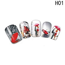 Fancyqube  Designs Valentine Gift Sticker Couple\/Maple Nail Designs Nail Art Water Transfer Decals For Nails Tips Sticker