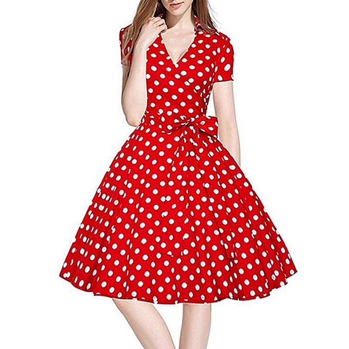 0d85e5de8c94 Women Vintage Dress 50S 60S Swing Pinup Retro Casual Housewife Party Ball