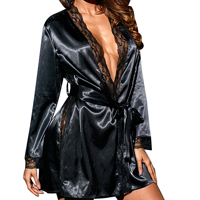 20f3788fbeb ... High end Women Sexy Silk Kimono Dressing Babydoll Lace Lingerie Bath  Robe Nightwear ...