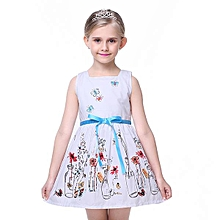 627c4b97675 Girl Dress 2017 New Brand White Butterfly Girls Dress Floral Print Children  Princess Birthday Party Sundress