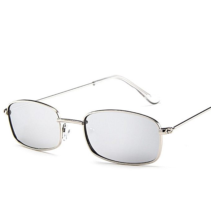 52d4524f37e4d Small Retro Shades Rectangle Sunglasses Men Red Lens Yellow Metal Frame  Clear Lens Sun Glasses For
