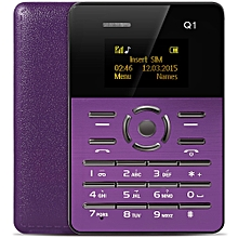 Q1 1.0 inch Ultra-thin Card Phone FM Audio Player Sound Recorder Calendar Calculator-PURPLE