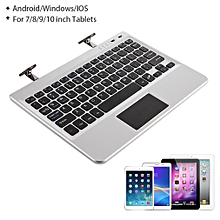 Multifunctional Portable Aluminum Bluetooth Keyboard Fit For 7/8/9/10 Inch Tablets - Silver