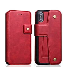Cowhide Texture Magnetic Absorption Detachable Horizontal Flip Leather Case for iPhone X / XS, with Holder & Card Slots & Wallet (Red)