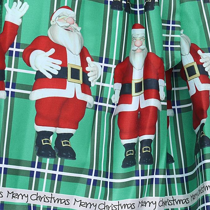 21de9cbac0e0 ... Women Vintage Christmas Plaid Santa Claus Sheer Printed Lace Insert  Swing Dress ...
