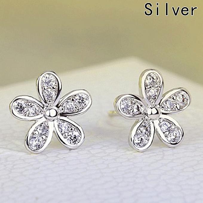 Fshion Fl Earring Diamond Stud Earrings Rose Anti Allergy
