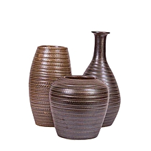 Ceramic Vase Set - Dark Brown