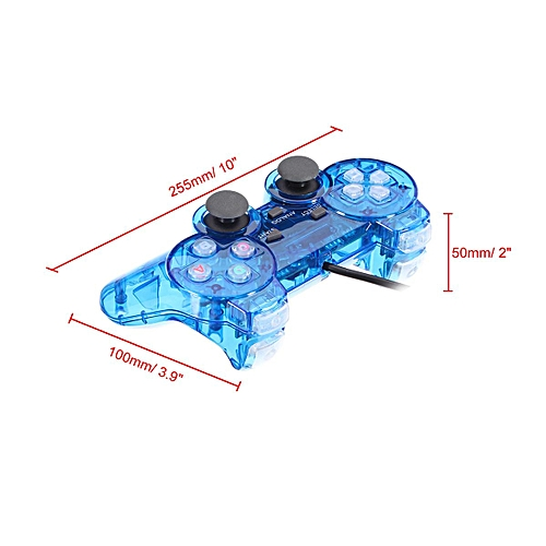 Transparent Blue Game Controller Gamepad Joystick For Retro TV Game Console