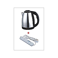 Cordless Electric Kettle - 2L - Silver+Free 4 way Extension Cable