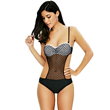 Women Spaghetti Strap Mesh SwimSuit - Black