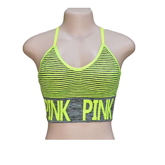 1cd45e51a9a94 Neon Green and Dark Grey Striped PINK Sports Bra With Elastic Band
