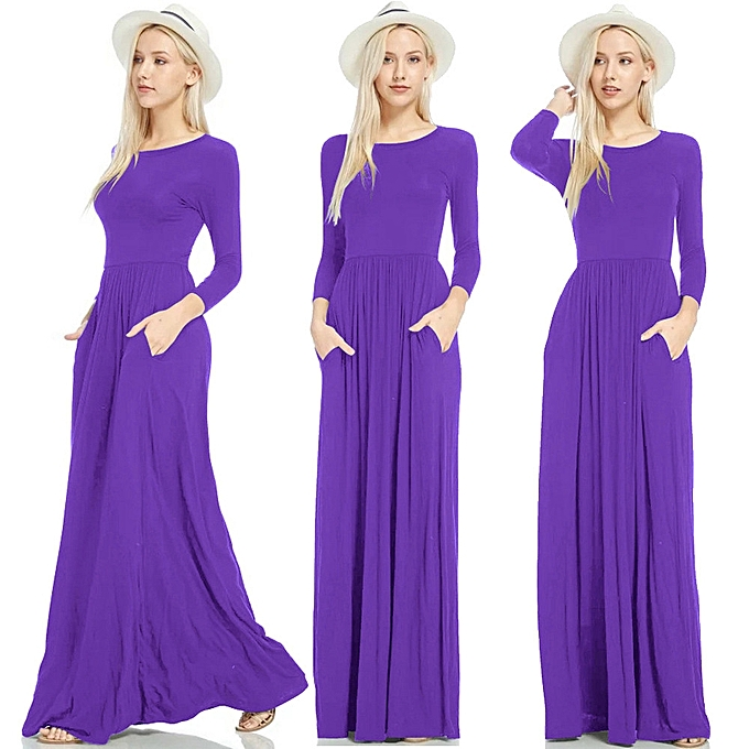 453bcbedb780 Women Long Sleeve Loose Plain Maxi Dresses Casual Long Dresses With Pockets