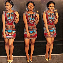 Womens African Print Sleeveless Mini Party Dress