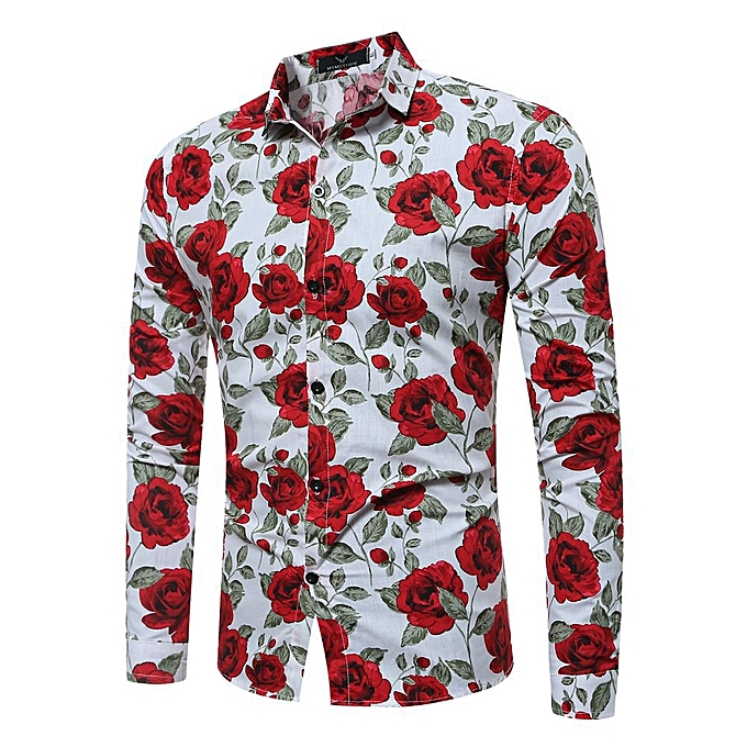 cf2f5bc2e143 Men's shirt Floral printing long sleeve shirts men clothes flowers printed shirts  vintage Linen Casual Male