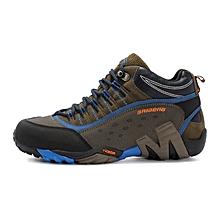 Winter Men Outdoor Hiking Mountain Climbing Shoes Anti-skid Leather Men Trekking Shoes Waterproof Sports Casual Shoes - Blue