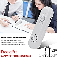 【Buy 1 Get 1 Free Headset】Portable Handheld Smart Chinese-English Two-Way Real Time Voice Speech Translator Music Player