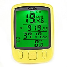 SunDing SD - 563B Leisure Bicycle Computer Water Resistant Cycling Odometer Speedometer with Green Backlight Yellow