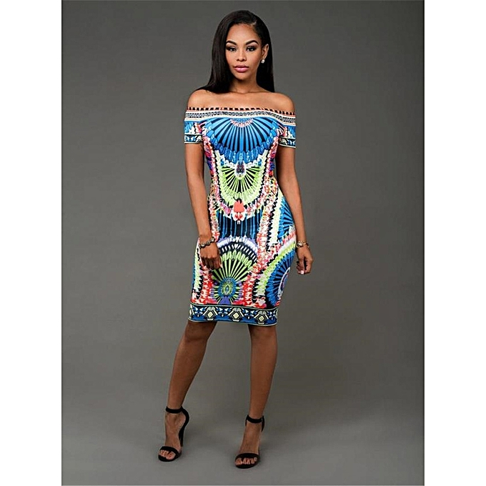 493bf9646db Generic Womens African Print Off Shoulder Bodycon Dress   Best Price ...