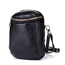 Women Genuine Leather Zipper Shoulder Bags Two Pockets Crossbody Bags 5.5'' Phone Purse For Iphone 7