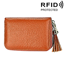 Genuine Cowhide Leather Solid Color Zipper Card Holder Wallet RFID Blocking Card Bag Protect Case Coin Purse with Tassel Pendant & 15 Card Slots for Women, Size: 11.1*7.6*3.5cm(Brown)