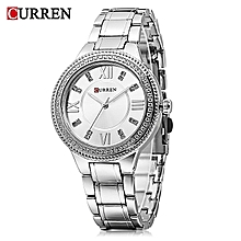 9004 Silver Quartz Women's Watch With Rhinestone Scales And Ultra-thin Dial