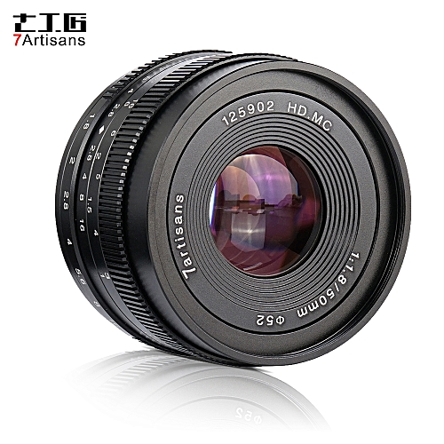 7artisans 50mm F1 8 Manual Focus Camera Lens Large Aperture for Sony  A7/A7II/A7R/A7RII/A7S/A7SII/A6500/A6300 E-Mount Mirrorless Cameras