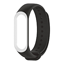Mijobs Watch Strap Soft Silicone Bracelet Wristband For Xiaomi Mi band 3 white & black
