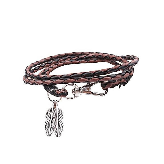 Popular Braided Rope Multilayer Genuine Leather Leaf Women's Retro Bracelet  Gift