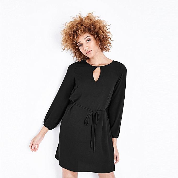 132e181233 paidndh store Women's Summer Casual Swing T-Shirt Dresses Beach Long Sleeve  Solid Pencil Dress