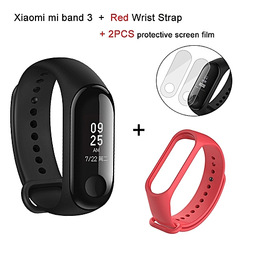 Mi band 3 OLED Heart Rate Monitor Bluetooth 4.2 Smart Bracelet+Red replacement band and 2 free screen protector