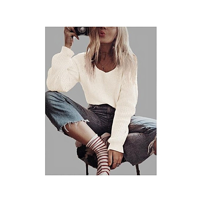 38e98389fffca YOINS Women New High Fashion Clothing Casual Long Sleeve V-neck Loose Fit  White Sweater ...