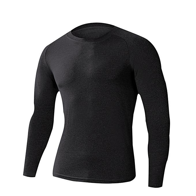bc4e2151dc8a Men s Compression Shirts Baselayer Crewneck Long-Sleeve Dry Fit T-Shirts  Black