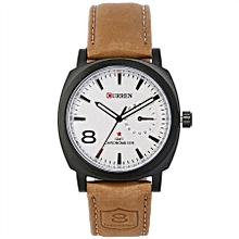 Men's White Dial Leather Band Watch [8139-White]