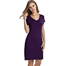 53ac13dc35 Avidlove Women V-Neck Nightgown Short Sleeve Shift Loose Solid Nightwear  Sleepwear Pajamas ( Purple