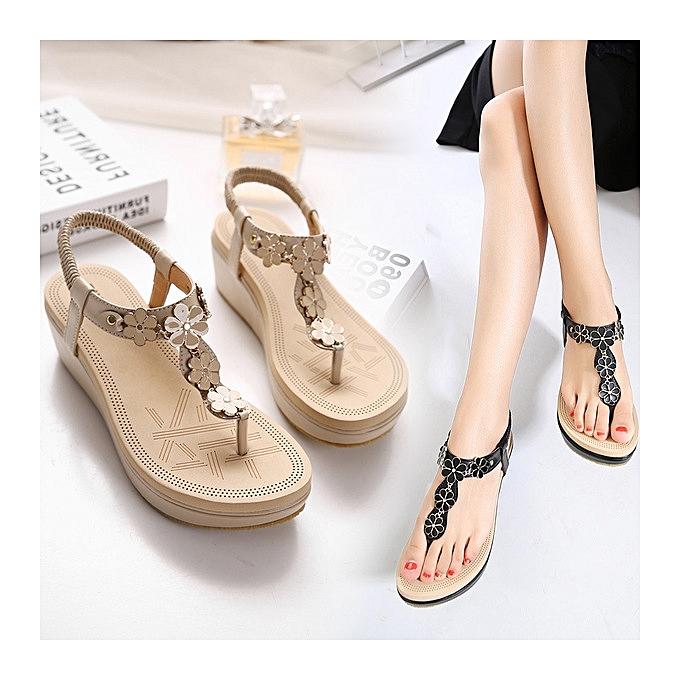 218003bab ... New Large Size Summer Wedge Sandals Women Sandals Fashion Flip Flops  Comfortable Shoes -black ...