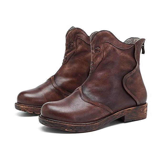 8207563342931 SOCOFY Sooo Comfy Retro Handmade Splicing Flat Soft Ankle Leather Boots