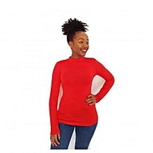 Red Long sleeve mock neck tshirt