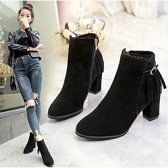 Womens Short Booties Ankle Boots Winter Women Martin Boots Shoes BK 35-Black  - 81552d56d7